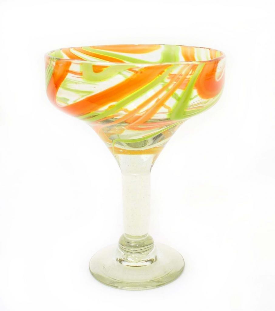 SET OF 4, ORANGE LIME SWIRL MARGARITA GLASSES, RECYCLED GLASS - 14OZ