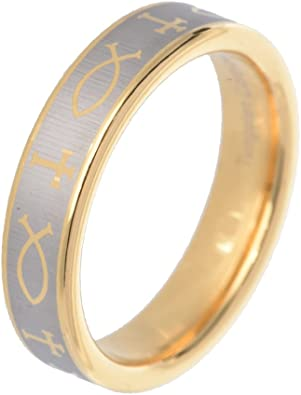 11.5 Size Tungsten Carbide Yellow Gold Plated Laser Engraved Crosses Design 5mm Wedding Band Ring