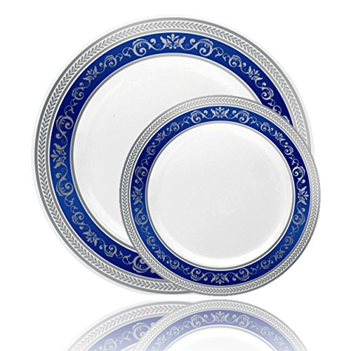 Posh Setting Royal Collection Combo Pack China Look White, Silver/Blue Plastic Plates (Includes 8 Packs of 10 Plates, 40 10.25'' Dinner Plates and 40 7.25'' Salad Plates) Fancy Disposable Dinnerware