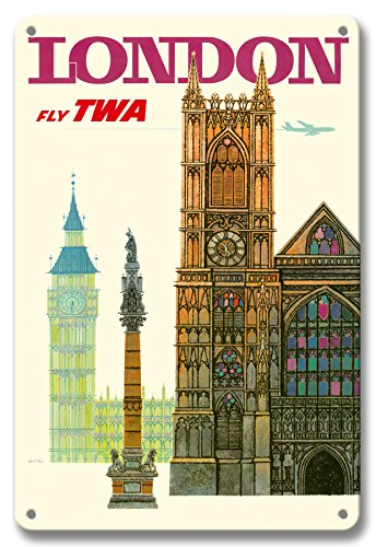 - Pacifica Island Art 8in x 12in Vintage Tin Sign - London UK - Fly TWA (Trans World Airlines) - Westminster Abbey Church by David Klein