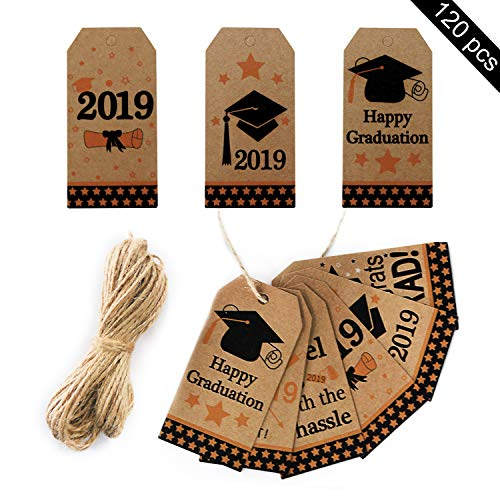 - 120pcs Graduation Tags - Kraft Paper Gift Tags with String - 2019 Graduation Party Favor Gift Tags
