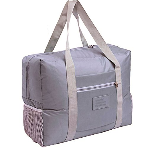 (Foldable Travel Bag Tote Lightweight Waterproof Duffel Bag Carry Storage Luggage Portable Folding Bag by VAQM (grey))