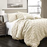Ravello Comforter Shabby Chic Style Pintuck 5 Piece Set with Pillow Shams - Size: King, Ivory