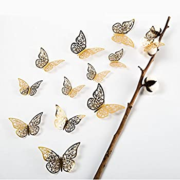 aooyaoo 12Pcs Golden 3D Butterfly Man-Made Removable Art Decorations Wall Stickers Wall Decals Butterfly Bookmark