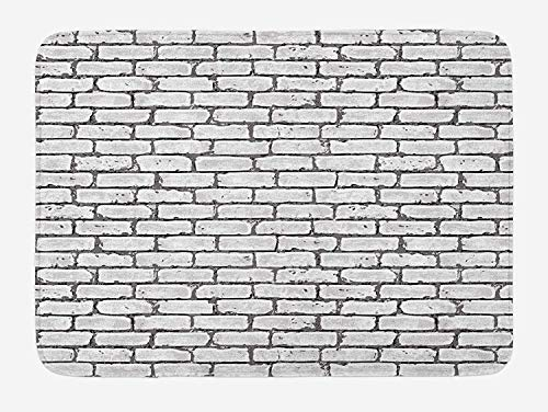 Grey and White Bath Mat, Grunge Brick Wall Background Urban Architecture Building Modern City Life Graphic, Plush Bathroom Decor Mat with Non Slip Backing, 23.6 W X 15.7 W Inches, Grey -