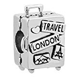 ReisJewelry Love Travel Charms Sydney Hawaii London Rome Pisa Tower Eiffel Tower Charm Bead For Bracelets (Travel Suitcase)