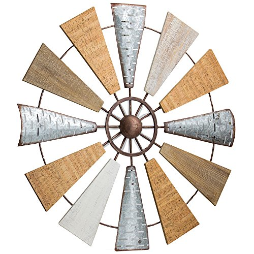 American Art Decor Wood and Metal Windmill Wall Art Farmhouse Wall