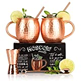 The Full Moscow Mule Kit - Set of Two 16 Oz Copper Mugs - 100% Solid Copper Hammered Cups - Unique Extras