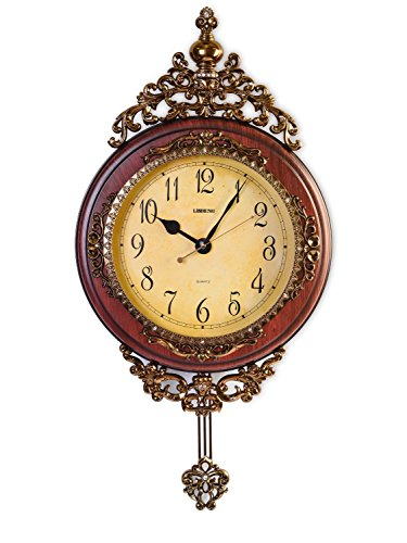 Elegant, Traditional, Decorative, Hand Painted Modern Grandfather Wall Clock W/Swinging Pendulum For New Room or Office. Color Brown & Bronze. Large. 24 Inch.