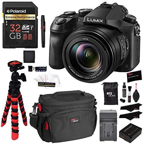 Panasonic LUMIX DMC-FZ2500 Digital Camera 4K Video, Polaroid 32GB High Speed SD Card U3, Battery, Charger, Ritz Gear Tripod, Cleaning Kit and Accessory Bundle