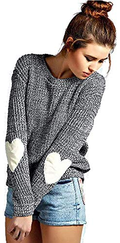 shermie Crew Neck Womens Sweaters Cute Heart Pattern Elbow Patchwork Long Sleeve Knit Sweater Pullover Thin Grey S