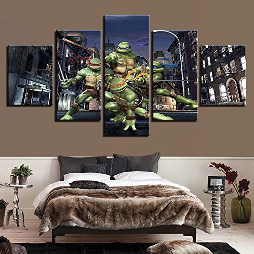 kkxdp Framed Modern Canvas Home Decor Wall Art Posters 5 Panels Teenage Mutant Ninja Turtles Living Room Pictures Hd Printed Painting -B -