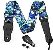 "Van Gogh""Starry Night"" Guitar Strap Includes Strap Button & 2 Strap Locks Shoulder Strap For Bas"