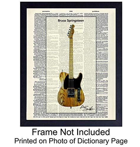 Bruce Springsteen Guitar Dictionary Wall Art Print - Vintage (8x10) Ready to Frame Photo - Great Gift for Music, Rock n Roll and The Boss Fans - Cool Home Decor