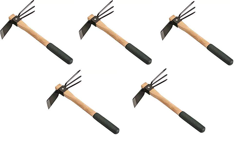 Edward Tools Hoe and Cultivator Hand Tiller - Carbon Steel Blade - Heavy Duty for loosening Soil, Weeding and Digging - Rubber Ergo Grip Handle - Rust Proof (Thrее Расk)