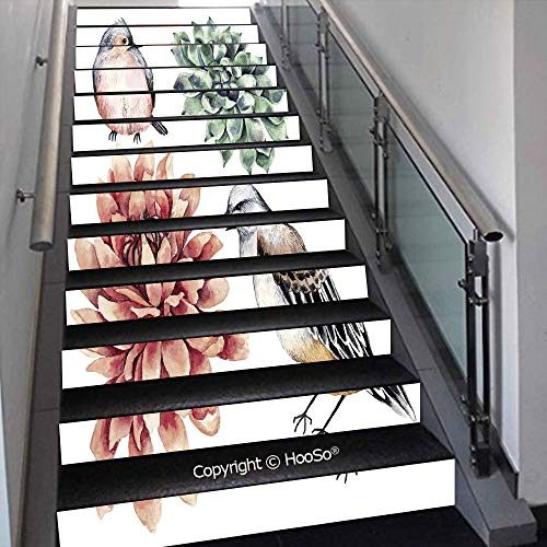 PUTIEN Self-Adhesive Stair Risers Stickers Vinyl Staircase Stickers Stairway Decal Wallpaper, Waterproof, Anti-Stain,Ornament of Decorative Medallion Shapes Bordered with Small,39.3