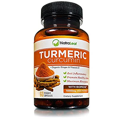 NatraLeaf Turmeric Curcumin with BioPerine - 95% Curcumnoids - Triple Blend of Turmeric Extract, Vitamin D & Ginger - w/ Black Pepper for Best Absorption - Anti-Inflammatory for Joint Pain - Non-GMO
