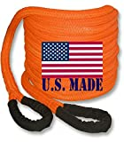 U.S. made ''Safety Orange'' Safe-T-Line Kinetic RECOVERY ROPE (Snatch Rope) - 1 inch X 30 ft (4X4 VEHICLE RECOVERY)