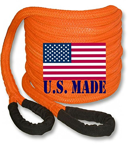 BILLET4X4 U.S. Made 1 inch X 30 ft Safety Orange PolyGuard Kinetic Energy Recovery Rope - Snatch Rope (4x4 Recovery)