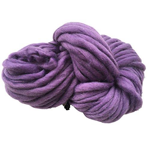 Super Soft Sock Yarn (Makaor Wool Yarn Super Soft Bulky Arm Knitting Wool roving Crocheting DIY Ball Woolen by Length : 35.2M (±2M), Purple)