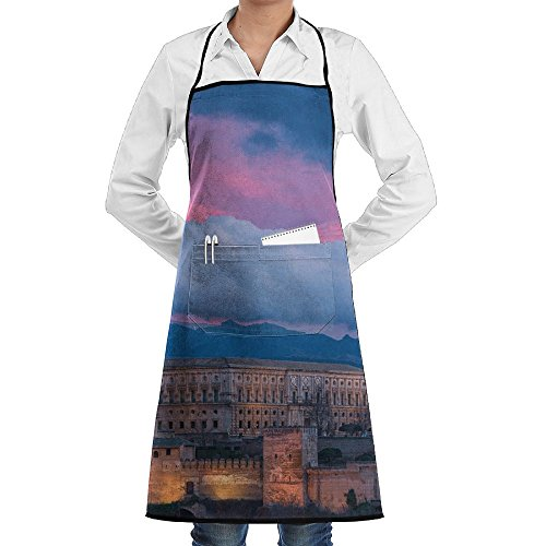 LCZ Alhambra Spain Night Landscape Fashion Waterproof Durable Apron With Pockets For Women Men Chef by LCZ