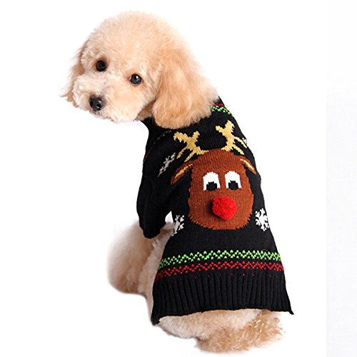 Rudolph The Red Nosed Reindeer Dog Costume (Bluecookies Christmas Dog Sweater Red Nosed Reindeer Puppy Knitted Clothes Costume … XXS)