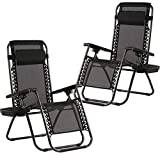 BestMassage Zero Gravity Chairs Set of 2 with Pillow and Cup Holder Patio Outdoor Adjustable Dining Reclining Folding Chairs for Deck Patio Beach Yard (Black)