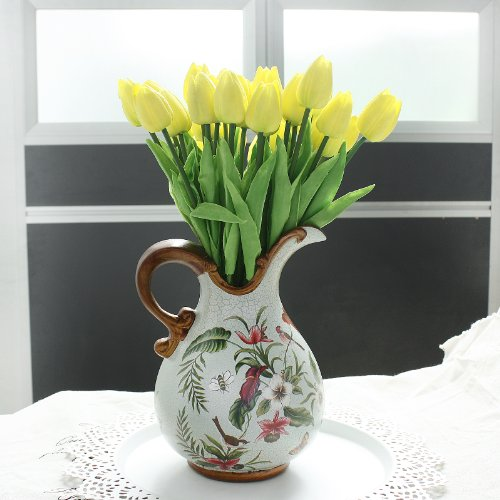 Wholesale Tulip Flower Latex Real Touch For Wedding Bouquet Birthday Party Room Decoration Best Quality Tulip Flower (yellow, 24pcs)