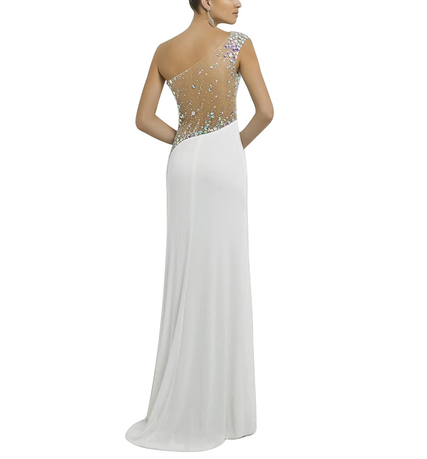 Amazon.com: ShangYou Sexy Beaded Prom dress One Shoulder Split Aside Party Gown Dress: Clothing