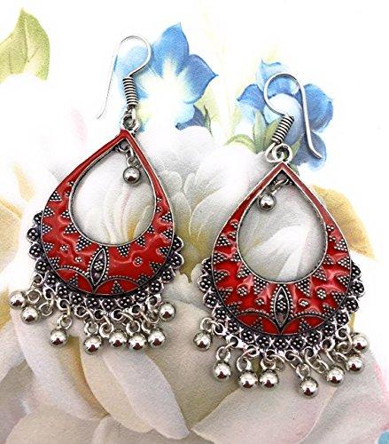 Satyam Kraft Women's Silver & Red Afghani Tribal Enamel Dangler Hook Earrings Earrings Her Diwali Gift Standard Silver by Satyam Kraft