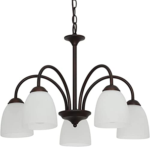 Ravenna Home Classic 5 Light Chandelier, Bulbs Included, Adjustable 15-72 H, Dark Bronze