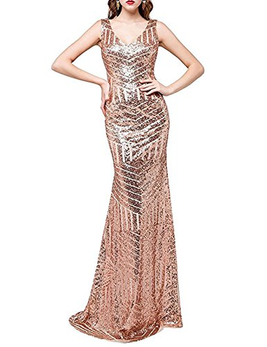 6088e8220f6 DYS Women s Sequins Bridesmaid Dresses for Wedding Long Prom Evening Gowns  Rosegold US 18Plus