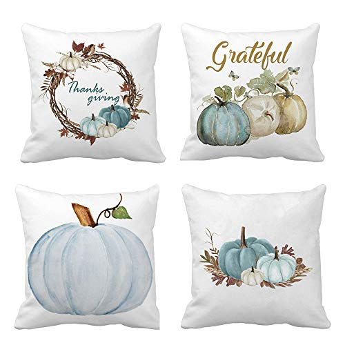 Decorative Throw Pillow Cases Cotton Blend Cushion Cover Set for Thanksgiving Sofa Bed Home Decor Design 4 Packs (18 X 18 inch)