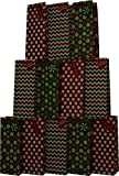 Christmas Wine Bags with glitter designs & Holiday colors; set of 12 bags
