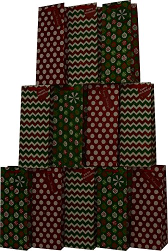 Christmas Wine Bags with glitter designs & Holiday colors; set of 12 bags -