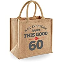 60th Birthday Keepsake Gift Jute Bag for Women Novelty Shopping Tote