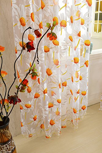 1x2M Sunflower Voile Window Burnt-Out Curtain Sheer Panel Balcony Divider