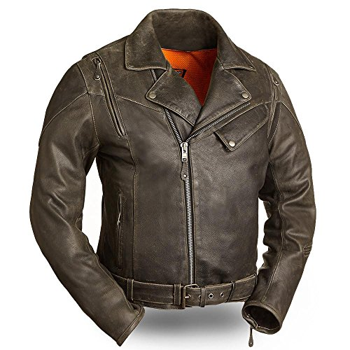 mens New Yorker Leather Jacket(Distressed Black,Medium),1 Pack ()