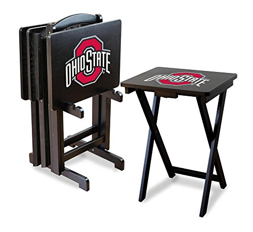 Ohio Game State Table (Imperial Officially Licensed NCAA Merchandise: Foldable Wood TV Tray Table Set with Stand, Ohio State Buckeyes)