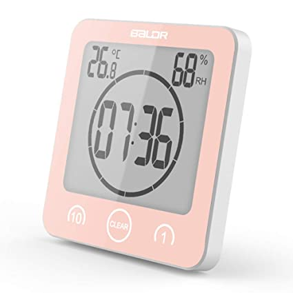 CTlite - Reloj de Pared Digital con Temporizador, Impermeable, termómetro e higrómetro con Ventosa