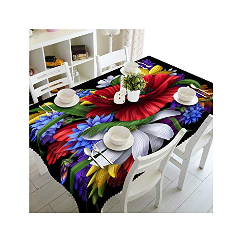 SunnyWarm 3D Red Tropical Exotic Flowers Pattern Waterproof Washing Cloth Thicken Rectangular Wedding Table Cloth,Color 5,140Cm X 220Cm