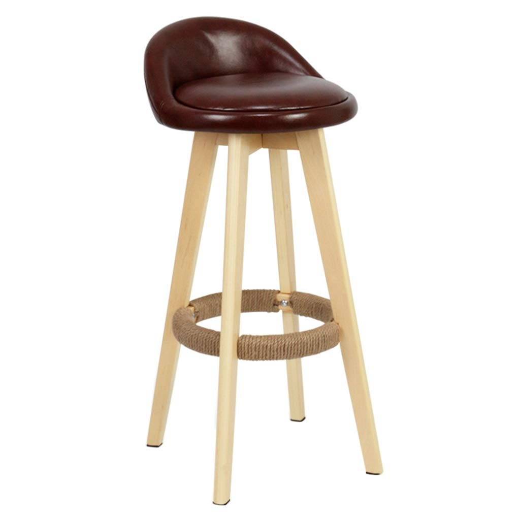 Brown Swivel Bar Stools Chairs Height Footrest Kitchen Counter Breakfast Cafe Wooden Legs Premium Quality PU Leather Upholstered,Max Load 200KG