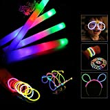 Blu7ive Glow Sticks and Foam Sticks Combo Pack - 30pcs Glowsticks and 12pcs Light-up Foam Sticks Include, Glow in the Dark Party Pack for Party, Festivals, Raves, Birthday by