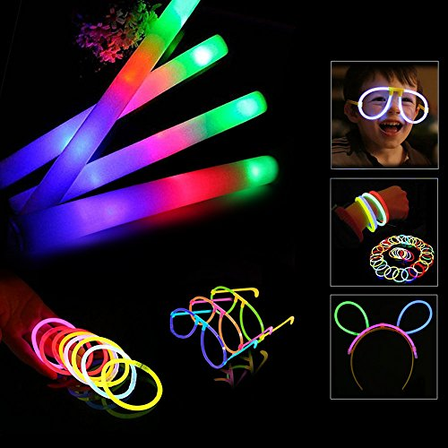 Blu7ive Glow Sticks and Foam Sticks Combo Pack - 30pcs Glowsticks and 12pcs Light-up Foam Sticks Include, Glow in The Dark Party Pack for Party, Festivals, Raves, Birthday