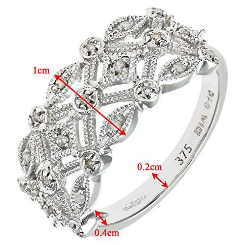 Bague Femme - Or blanc (9 carats) 3 Gr - Diamant 0.1 Cts