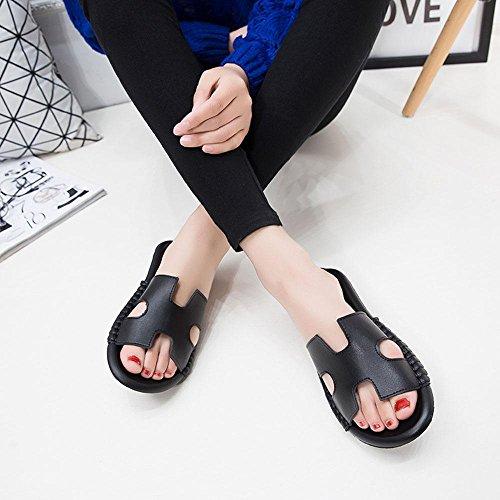 Heart&M H-Tipo de tacón medio de tacón de cuña Hollow única plataforma plana del cuero auténtico deslizadores de las sandalias de las mujeres Black