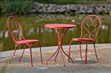 Small Space Scroll 3 Piece Chairs & Table Outdoor Furniture Bistro Set, Red, Seats 2