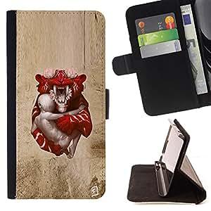 KingStore / Leather Etui en cuir / Apple Iphone 5C / Tigre de bebé