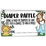 50 Safari Jungle Animals Diaper Raffle Tickets for Baby...