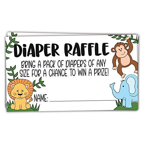 50 Safari Jungle Animals Diaper Raffle Tickets for Baby Shower - Invitation Inserts -
